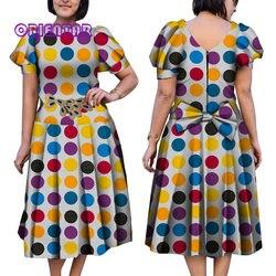 2019 robe de bal africaine pour les femmes mignon manches bouffantes robe en coton imprimé africain avec nœud Bazin Riche dame robes Midi WY5035