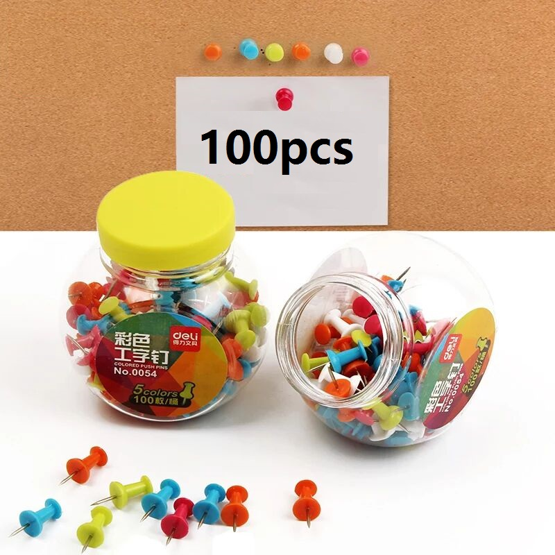 100Pcs Metal Push Pin Plastic Tacks Making ThumbTacks Cork Board Tachuelas 5 Colors Home Office School Supplies Deli 0054