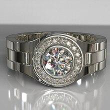 Luxo cor prata branco cz pedra anel relógio banda em forma de dedo anéis para festa de casamento feminino acessórios jóias n3m888
