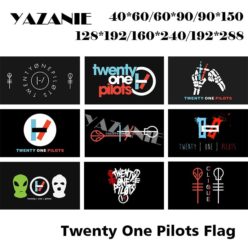 Yazanie qualquer tamanho único ou duplo face vinte e um pilotos bandeira esqueleto símbolo de clique personalizado bandeiras de poliéster e banners