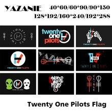 Односторонний или двухсторонний флаг ядзани «Двадцать Один пилот», любой размер, символом скелета, под заказ, флаги и баннеры из полиэстера