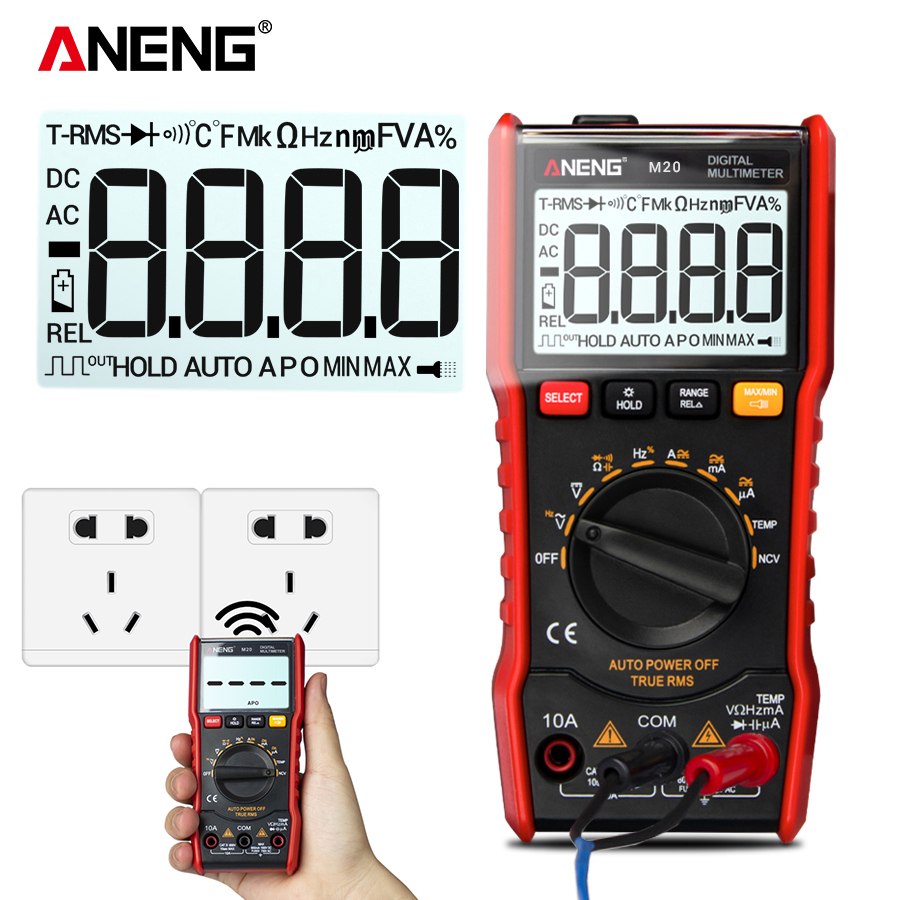 ANENG M20 Digital Multimeter Professional 6000 Count AC DC True-RMS Multimeter ESR Tester Voltage Current Meter With Flashlight image