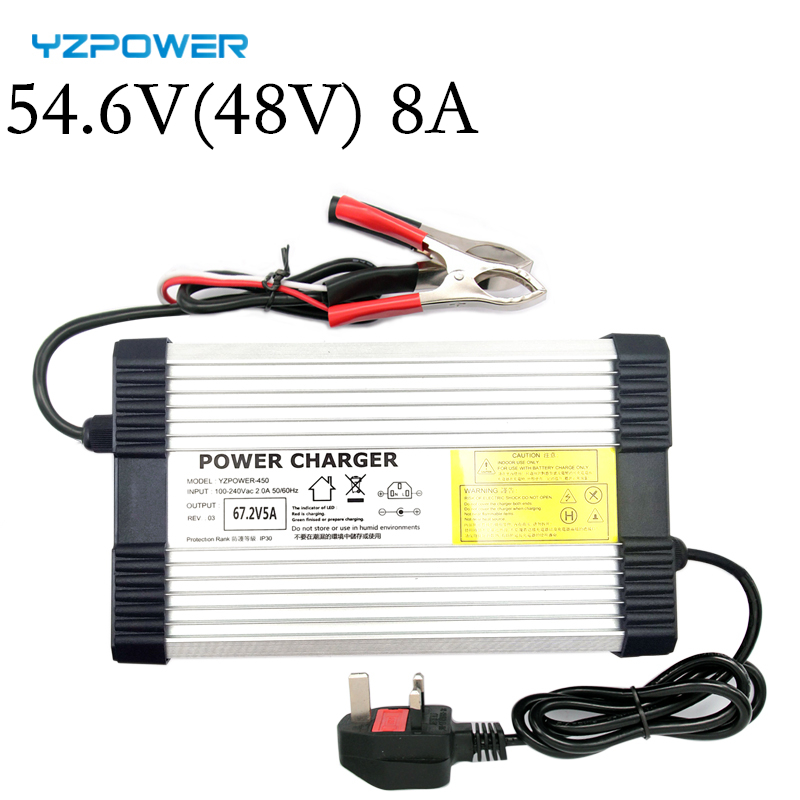 YZPOWER 54.6V 6A 7A 8A 48V Lithium Battery Charger For 48V Lithium Battery Electric Motorcycle Ebikes