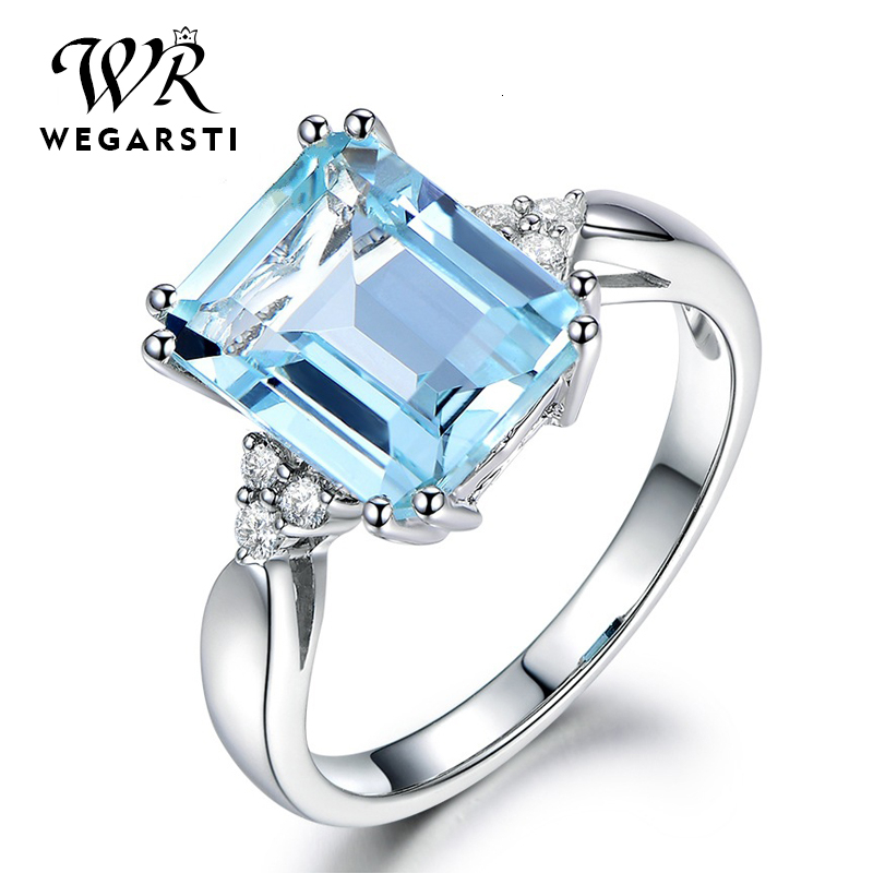 WEGARASTI Silver 925 Jewelry Ring Aquamarine Gemstone Rings For Women Genuine 925 Sterling Silver Female Jewelry Ring