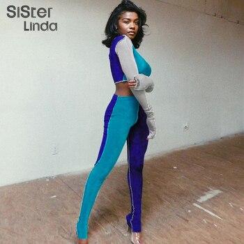 Sisterlinda 2020 Stripe Patchwork Contrast Sportwear Woman Outfit Full Sleeve Crop Tops Leggings 2Piece Set Activewear Tracksuit цена 2017