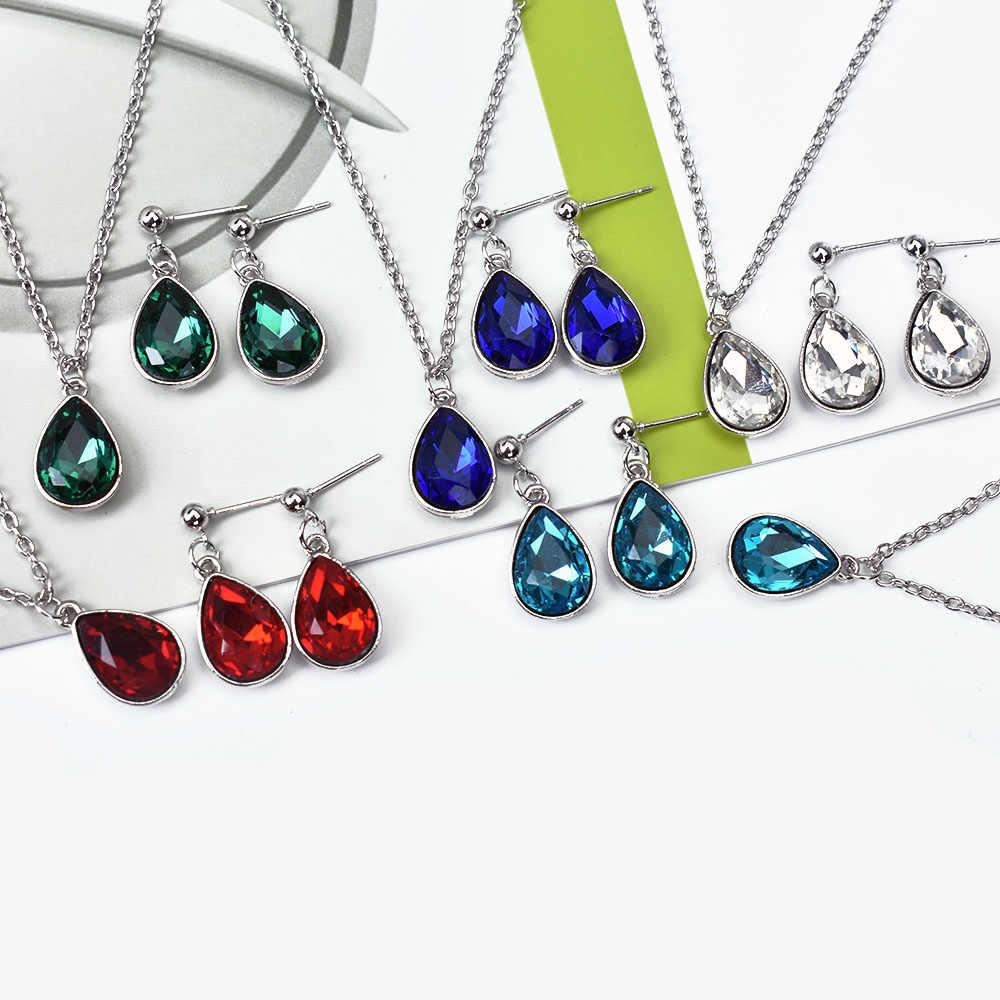 Baru Fashion Kristal Air Drop Perhiasan Set Merah Biru Geometris Liontin Kalung Menjuntai Anting-Anting Set Perhiasan Wanita Bijoux Femme