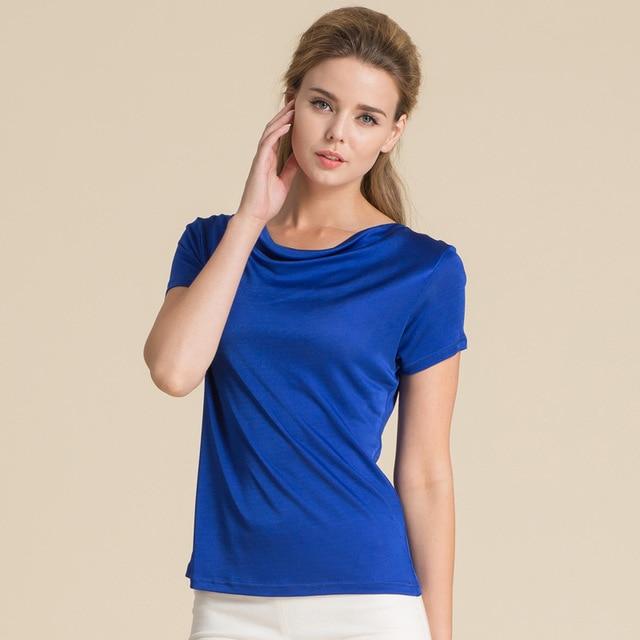 100% Pure Silk Women's T-Shirts Women Cowl Collar Wild Shirts Femme Short Sleeve Tops Woman Casual Tee Shirt Female T Shirts 6