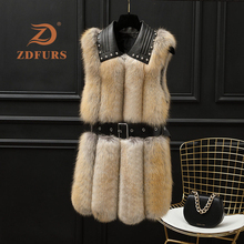 ZDFURS*Winter Women Real Fox Fur Vest Fashion Rivets Sheepsk