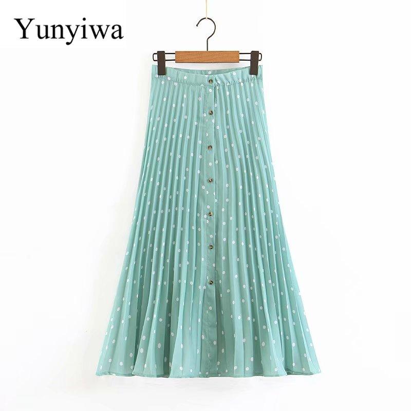New Women Fashion Polka Dot Print Pleated Midi Skirt Faldas Mujer Ladies Stylish Buttons Chic Vestidos A Line Skirts