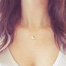 Simples tendência ouro lua pingente colar para mulher encantadora senhora clavícula corrente jóias moda ano novo acessórios presentes