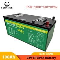 Batteria 24V 100AH Lifepo4 batteria agli ioni di litio batteria ricaricabile bulit-in BMS 24V per motore barca EU US esentasse