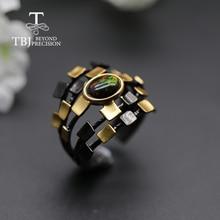 クールデザイナーナチュラル黒オパール女性リングオーバル 6*8 ミリメートルファインジュエリー 925 スターリングシルバー tbj オパールプロモーション新デザイン