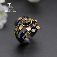 كول مصمم الطبيعية العقيق الأسود خاتم المرأة البيضاوي 6*8 مللي متر غرامة مجوهرات 925 فضة tbj أوبال تعزيز تصميم جديد