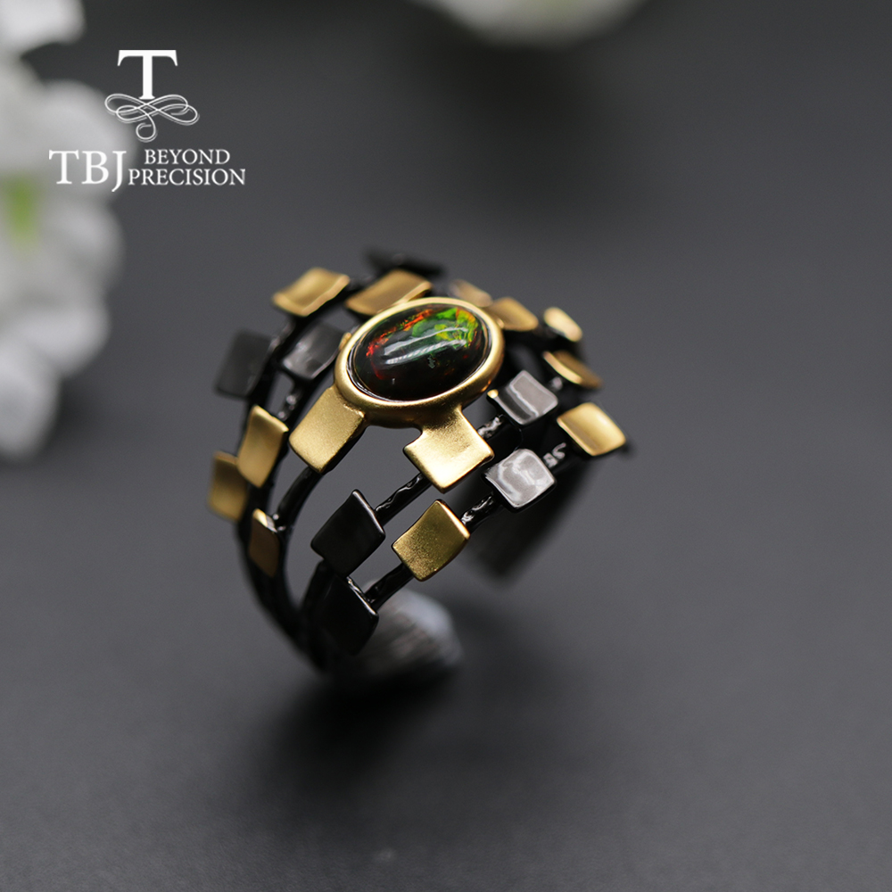 Cool Designer Natural Black Opal Women  Ring Oval 6*8mm Fine Jewelry 925 Sterling Silver  Tbj Opal Promotion New Design