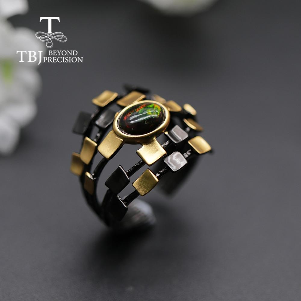Cool Designer Natural Black Opal Women  Ring Oval 6*8mm Fine Jewelry 925 Sterling Silver  Tbj Opal Promotion New Design