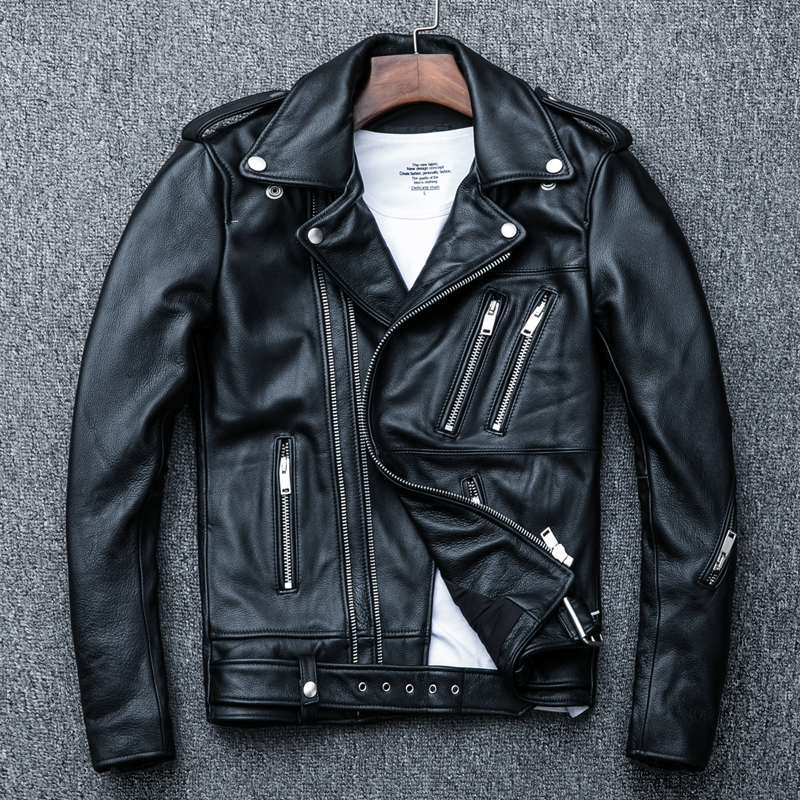 Cow Genuine Leather Jacket Men Short Sheepskin Coat Men Leather Jackets Motorcycle Chaqueta Cuero Hombre KJ1916