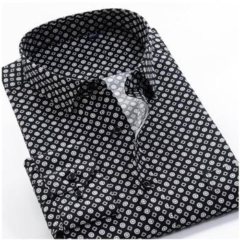 Large Size 8XL 9XL 10XL VROKINO Brand 2019 Vintage Floral Print Long Sleeves Men's Business Casual Dress Fashion Classic Shirt 1