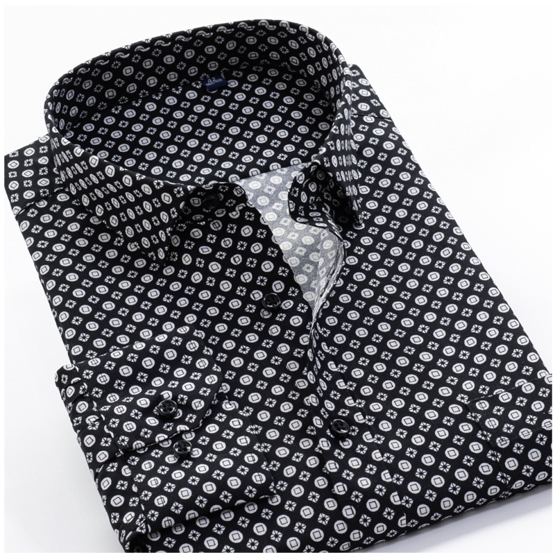 Large Size 8XL 9XL 10XL VROKINO Brand 2019 Vintage Floral Print Long Sleeves Men's Business Casual Dress Fashion Classic Shirt
