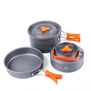 Zestaw patelni do gotowania na świeżym powietrzu zestaw garnków piknikowych zestaw przyborów do gotowania na polu 2 osoby Camping czajniczek przenośne naczynia ze stopu aluminium tanie i dobre opinie LISM
