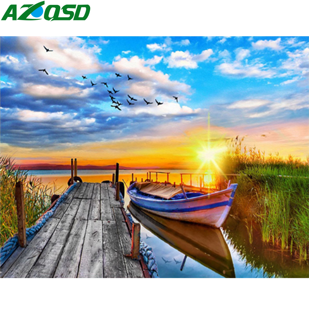 AZQSD Paint By Numbers On Canvas Landscape Unframe DIY Decoration Coloring By Numbers Sunset Wall Art Handpainted Gift