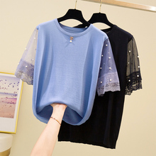 Plus Size Lace Mesh Short Sleeve Knitted T-shirt Women 2020 Summer Novelty Loose