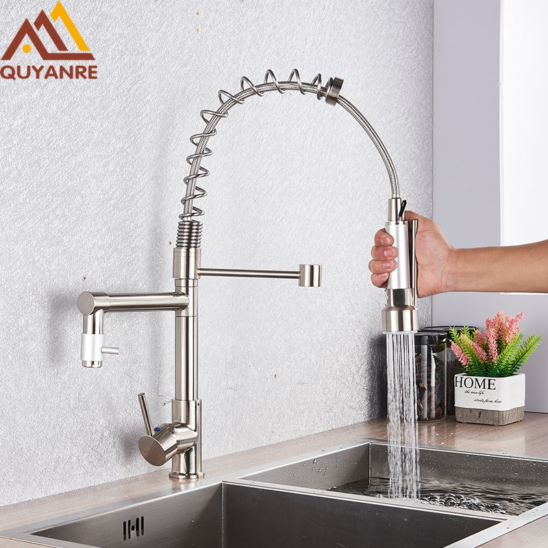 Quyanre Brushed Nickel Black Kitchen Faucet Pull-out Spray Dual Function Water Flow Swivel Spout Single Handle Mixer Tap Sink