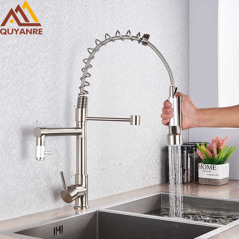 quyanre brushed nickel black kitchen faucet pull out spray dual function water flow swivel spout single handle mixer tap sink