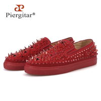 Piergitar 2019 Red and Black colors cow suede men sneakers with spikes designs CL brand same Sporty style men's casual shoes