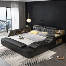 Bed-Frame Massage Bluetooth-Speaker Multifunctional Ultimate Bed Nordic-Camas Genuine-Leather