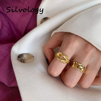 Silvology 925 Sterling Silver Criss Cross Rings Original Gold Color Weave High Quality Rings for Women 925 Simple Jewelry Gift flyleaf 925 sterling silver rings for women high quality simple cross weave fashion open ring vintage femme fine jewelry gif