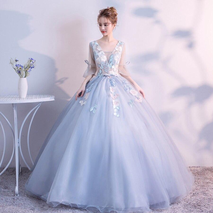 Wedding Dress V-neck Floor-length Wedding Dresses HX016 New Elegant Appliques Vestidos De Novia Lace Colored Wedding Gown 2019