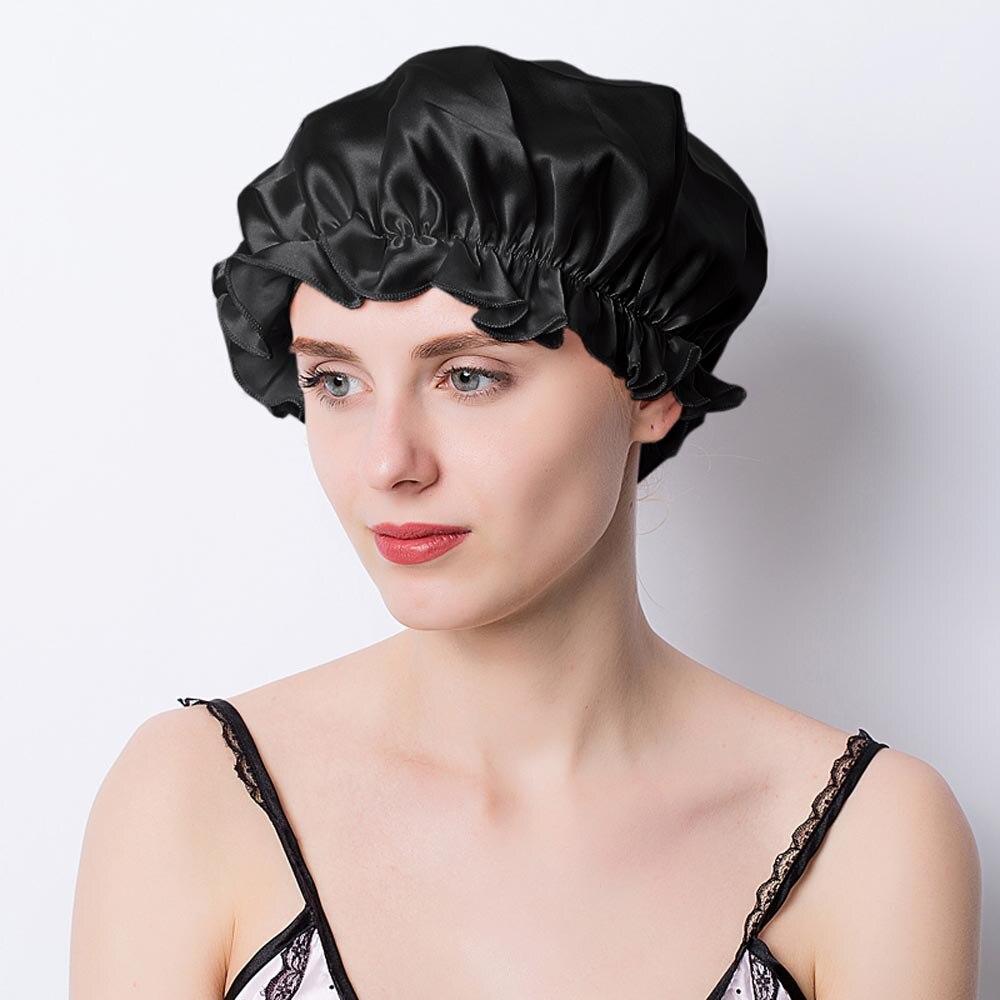100% amoreira de seda noite sono boné elástico moda feminina toucas de chuveiro grande gorro para senhora boné de sono
