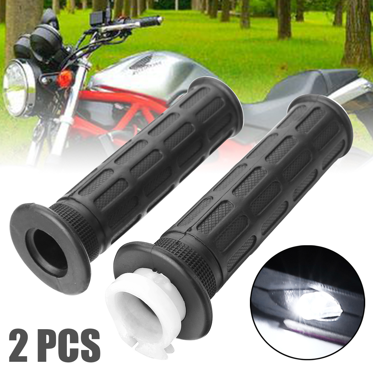 For Honda Dirt Bike 1Pair Motorcycle Hand Grip+Throttle Cable Tube Sleeve Moto Accessories Support CG125 ZJ125