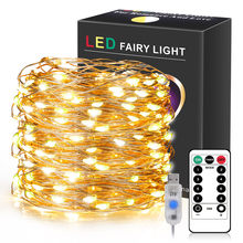 SXZM Remote Control 5/10/20 Meter LED String Light Copper Wire USB Powered Outdoor Fairy Garland New Year Christmas Decoration
