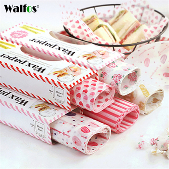 Walfos  50Pcs/Lot Wax Paper Food Grade Grease Paper Food Wrappers Wrapping Paper For Bread Fries Oilpaper Baking Tools printing wrapping wax paper soap gift book waxed packing paper food grade rice paper