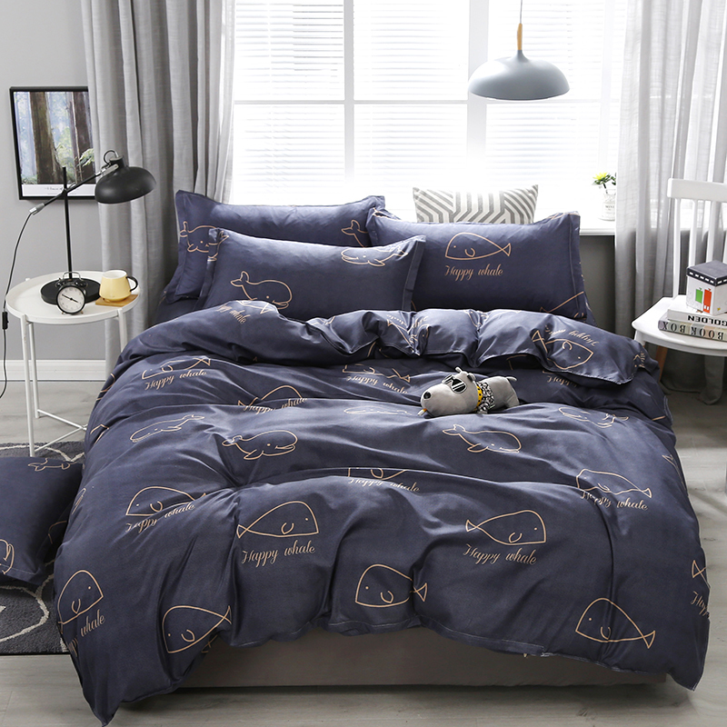 Whale Printed Dark Grey Linen Bedding Sheets Set