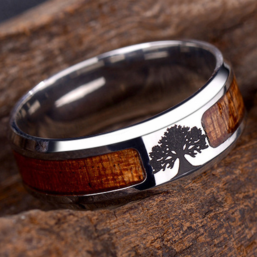 Unisex Wood Inlaid Stainless Steel Tree of Life Cross Finger Ring Jewelry GIL