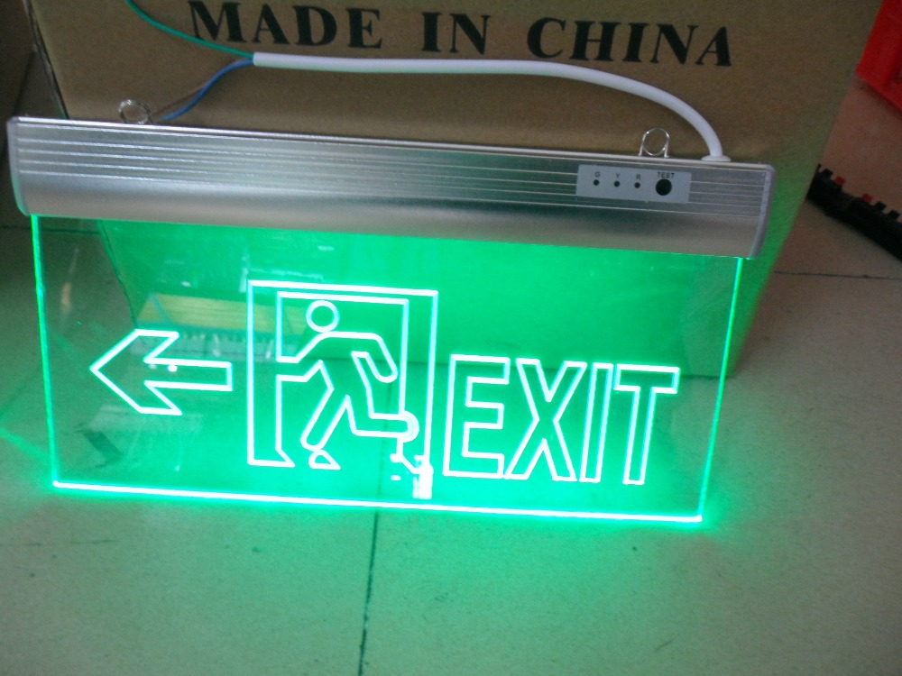 Customize Pattern Buyer Provides Text Fire  Emergency Passage EXIT Acrylic Carving LED Lamp Fire Indication  Arrow Evacuation