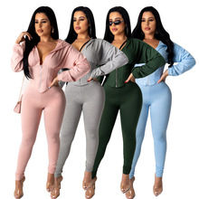 2021 Spring Casual Women Two Piece Set Skinny Crop Top  + Long Pants Sportsuit Tracksuit Clothes For Women Outfit Solid Color