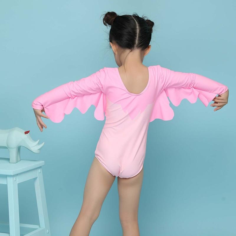 2018 New Style Korean-style Large Children Girls Cute Swan Triangular One-piece Swimming Suit CHILDREN'S Swimming With Swim Cap
