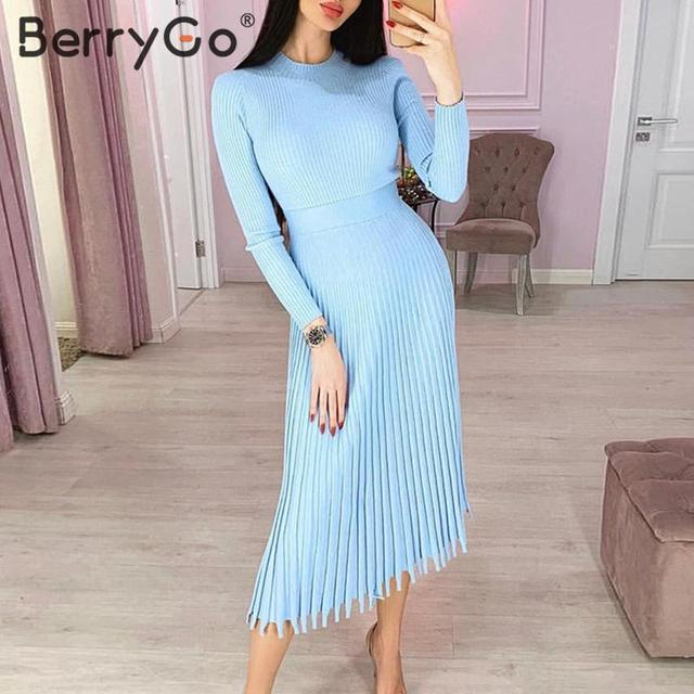 BerryGo Elegant striped knitted dress women Solid o neck long sleeve Female color pleated autumn winter sexy dress bodycon dress