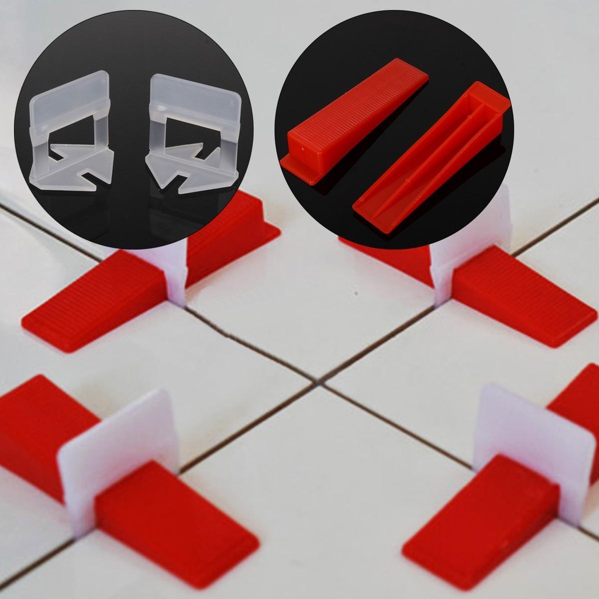 100Pcs Plastic Ceramic Tile Leveling System 50 Wedges 50 Clips Tiling Flooring Tools Wedges Clips Flooring Spacer