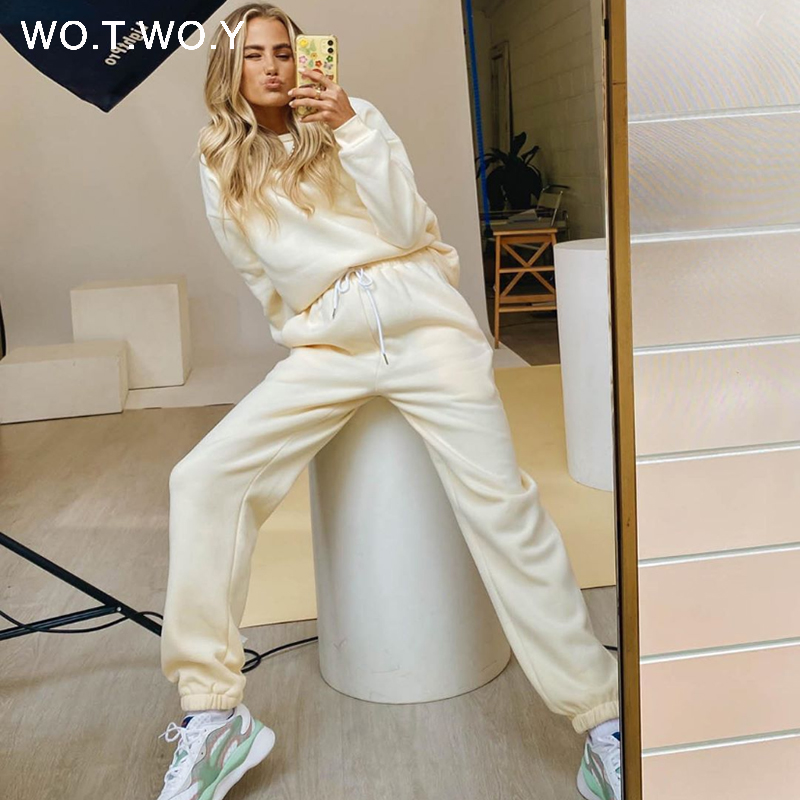 WOTWOY Winter Warm Fleece Two Piece Tracksuit Set Women Casual Tops and Pants Sports Suit Women 2020 Pullovers Women Sets Pocket