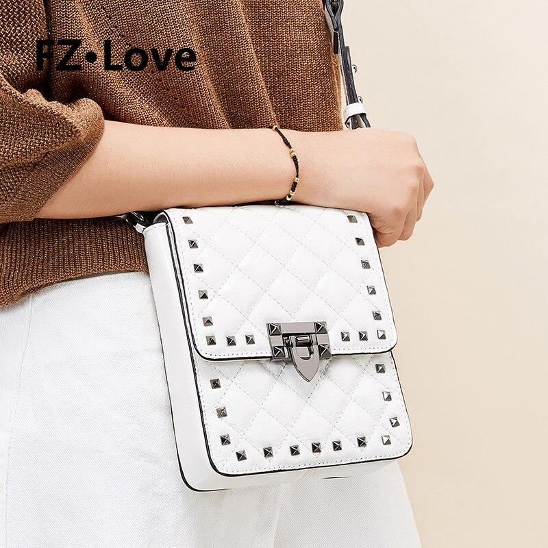 Women Purses Rivet Crossbody Bag Genuine Leather Studded Tote Wristlet Wallet Bag Cell-phone Pouch Purse Satchel Shoulder White