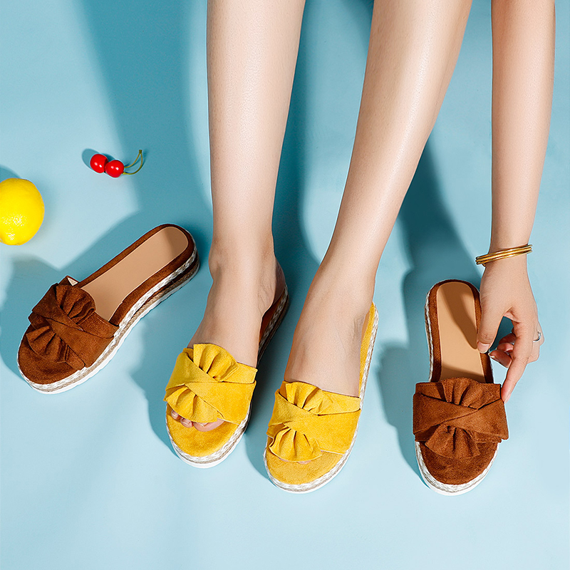 MCCKLE Women Slippers Slides Butterfly Knot Flock Ladies Platform Flat Shoes Woman Sandals Comfort Casual Fashion Female Hot New