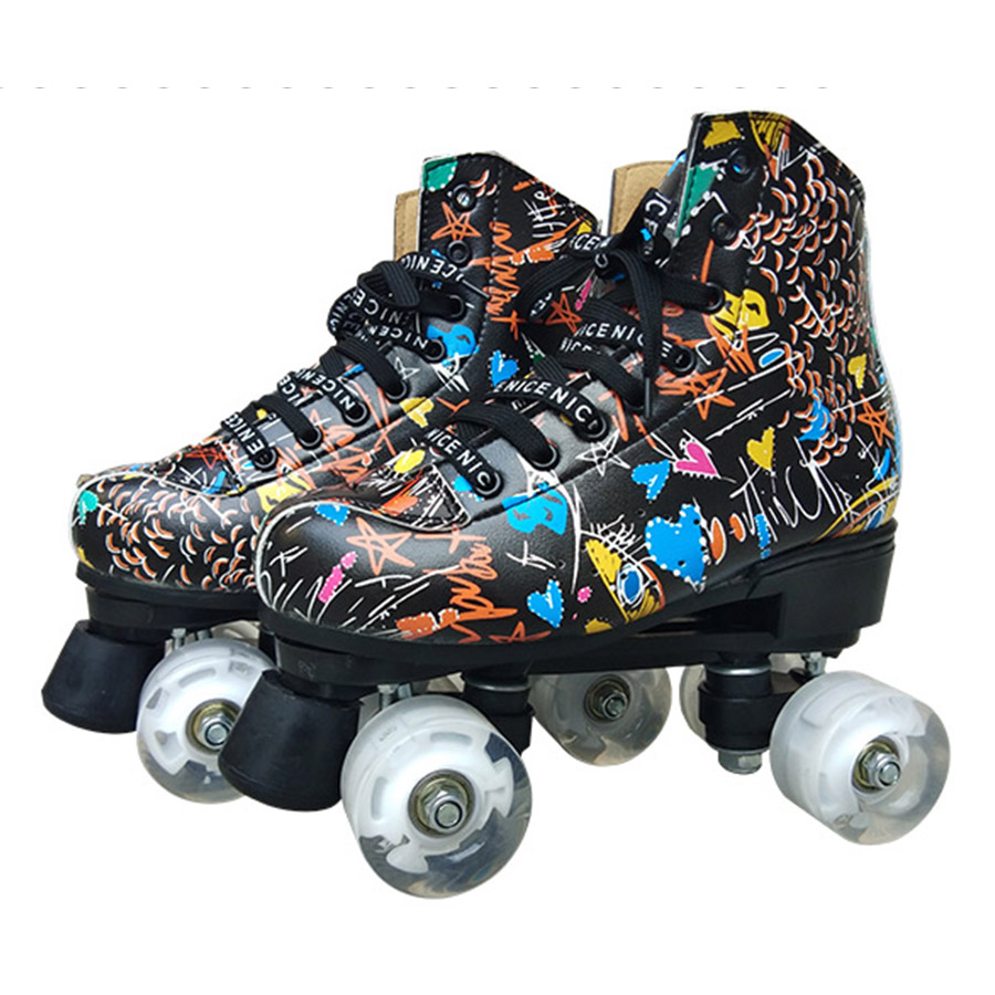 JK Skates Graffiti Microfiber Roller Skates Double Line Skates Women Men Adult Two Line Skating Shoes Patines White PU Wheels