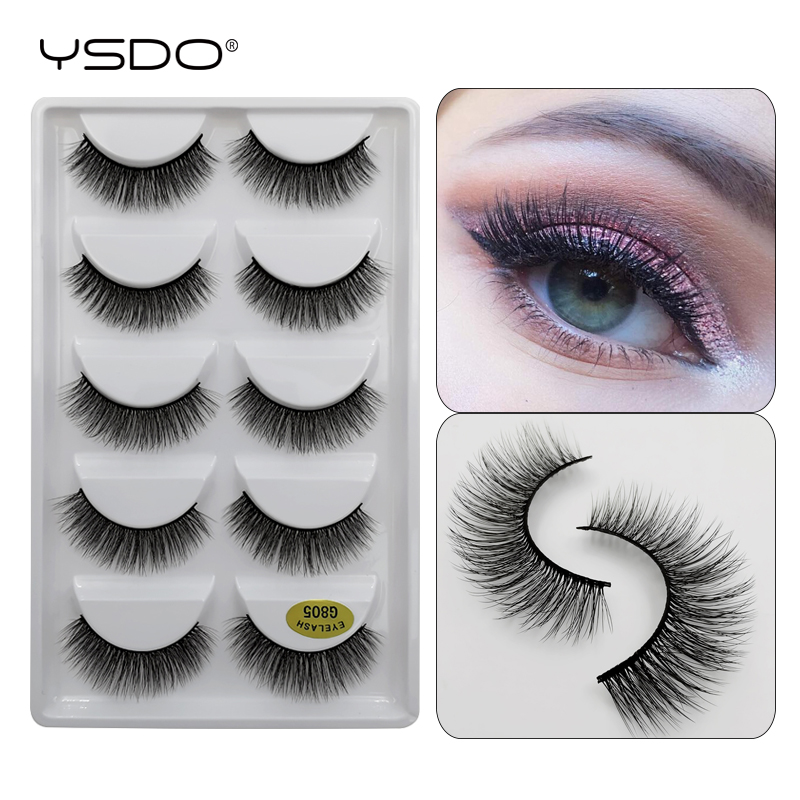 YSDO 5 Pairs Eyelashes Natural Long Mink Eyelashes Hand Made 3d False Eyelashes Makeup Full Strip Lashes 3d Mink Lashes Cilios