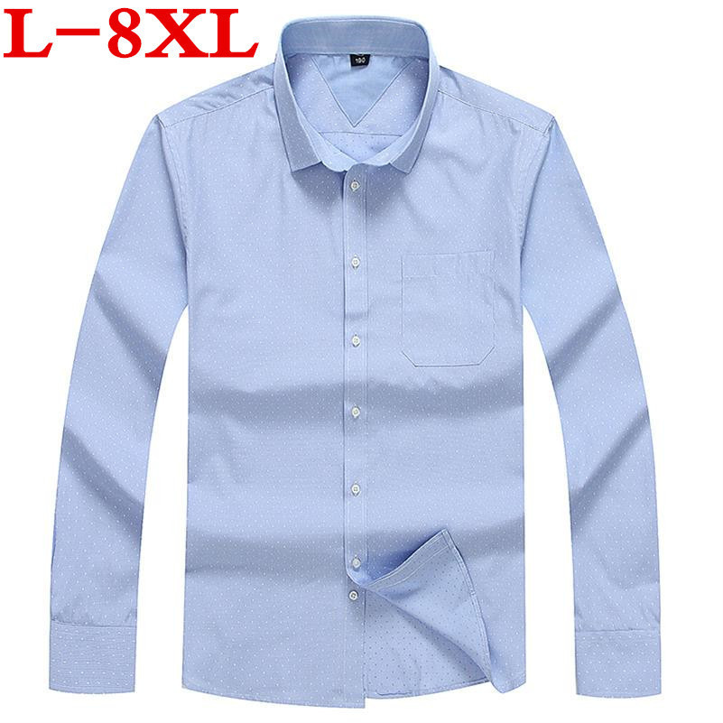 Plus Size 8XL 7XL 6XL 5XL Brand Men Clothes Slim Fit Men Long Sleeve Shirt Men Polka Dot Casual Men Shirt Social Big Size