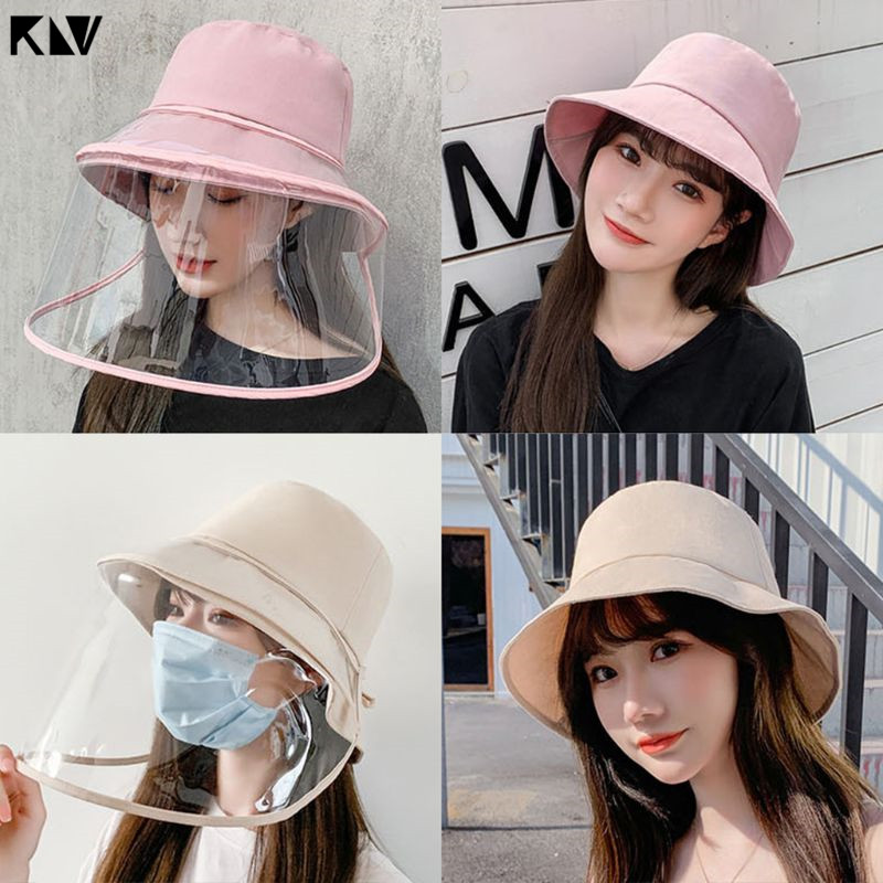 KLV Anti-Saliva Protective Hat Dust-Proof Mask Cap Anti-Fog Eye Protect Bucket Hat Protective Fisherman Cap Removable For Women