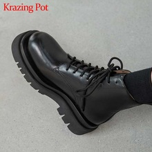 Heels Platform Ankle-Boots Krazing Pot Superstar Cross-Tied Natural Leather Preppy-Style